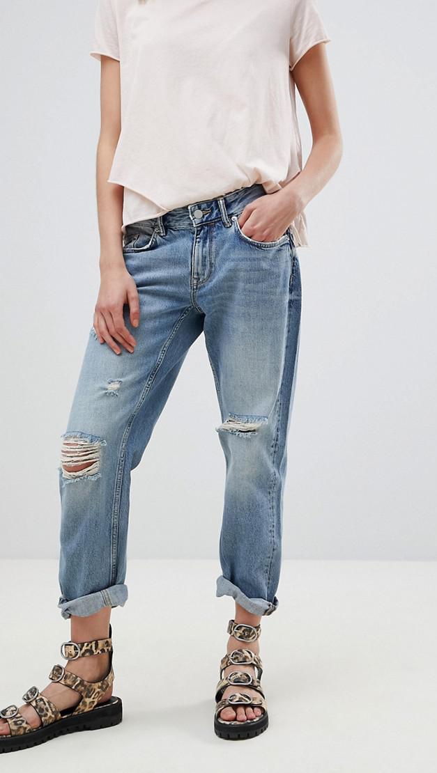 slouchy fit distressed boyfriend jeans