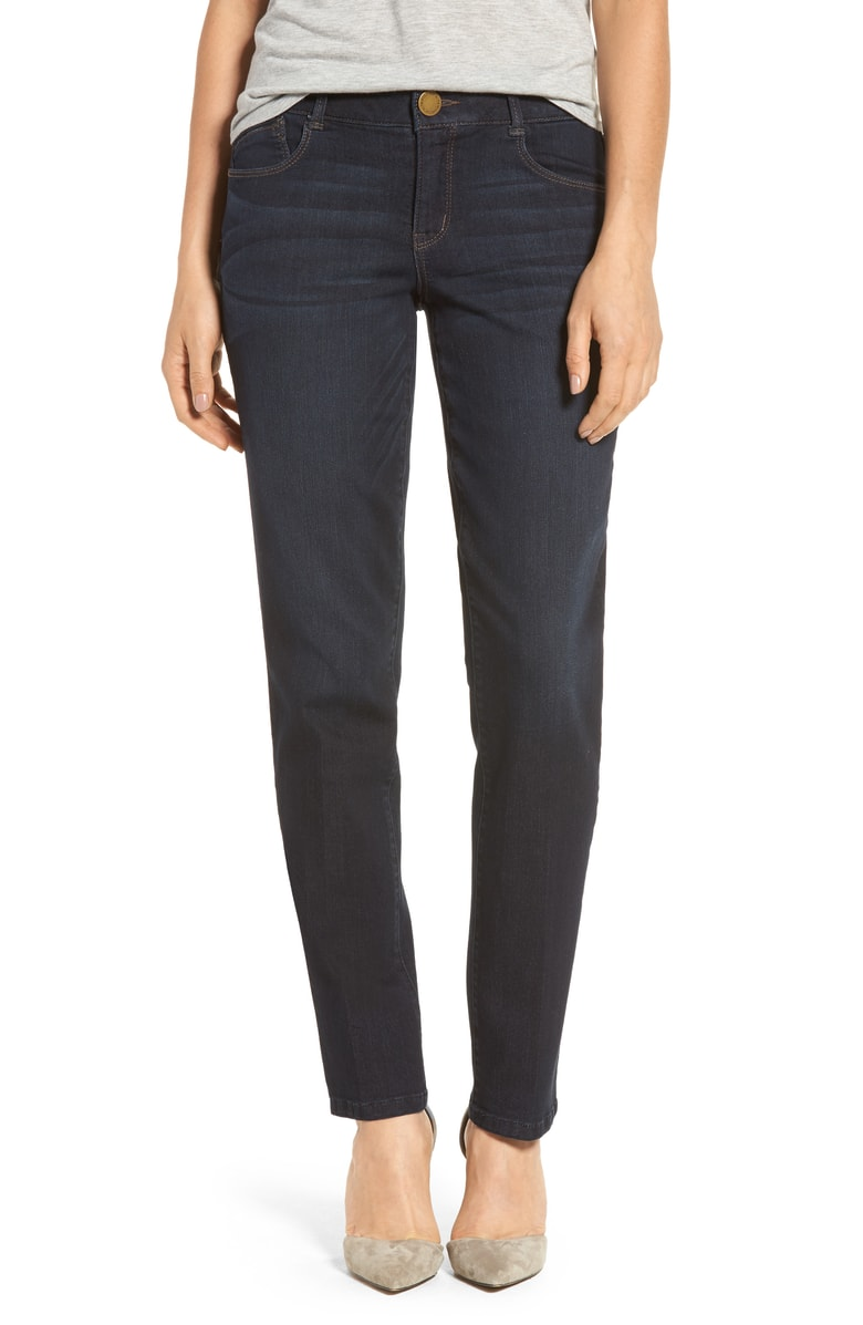 straight leg jeans worn with-nude shoes