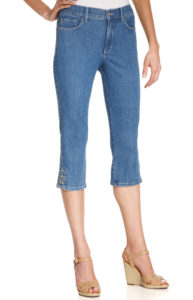 capri jeans with nude wedges