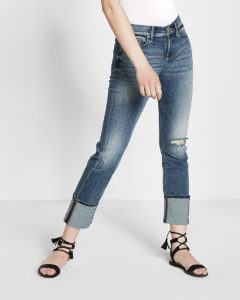 cropped deep-cuff skinny jeans