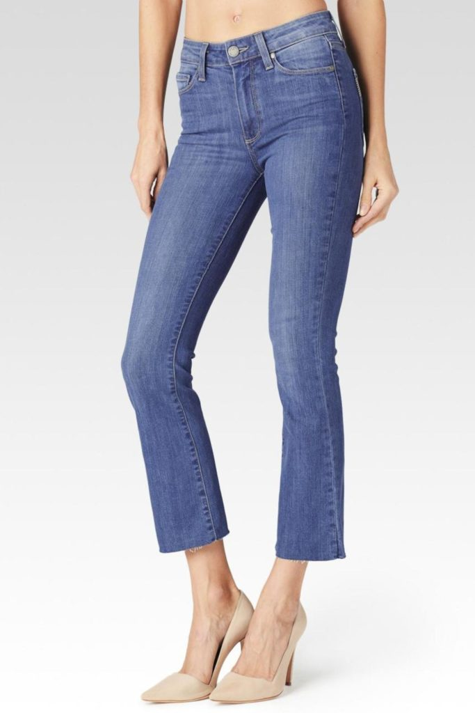shoes to wear with cropped jeans, cropped flare blue jeans with nude heel