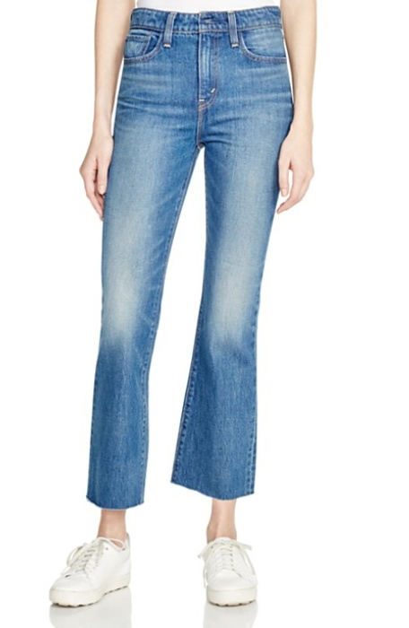 different jean styles. crop jeans, cropped flared leg jeans, kick flare