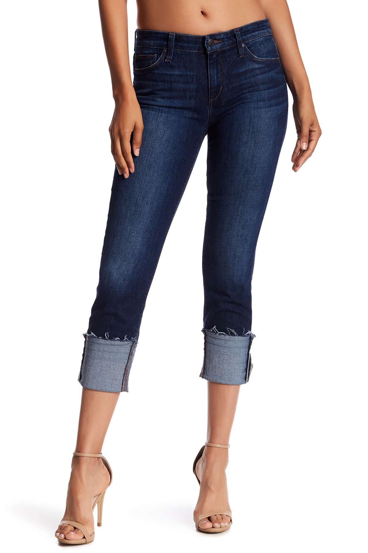 cuffed crop jeans with nude heels