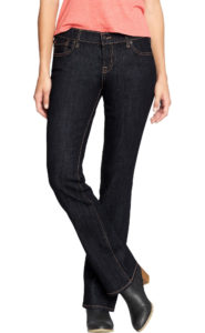 pear shaped body, dark rinse mid-rise bootcut jeans