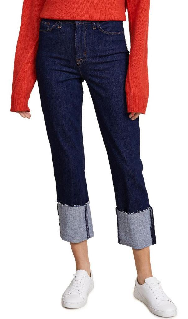 cuffed jeans, dark wash jeans, high contrast cuff