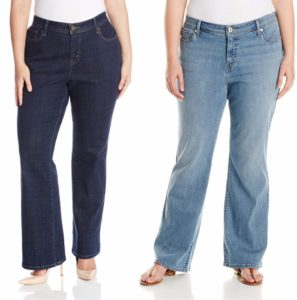 dark wash jeans with a good fit enhance plus size figures