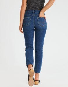 dark wash mom jeans - back view