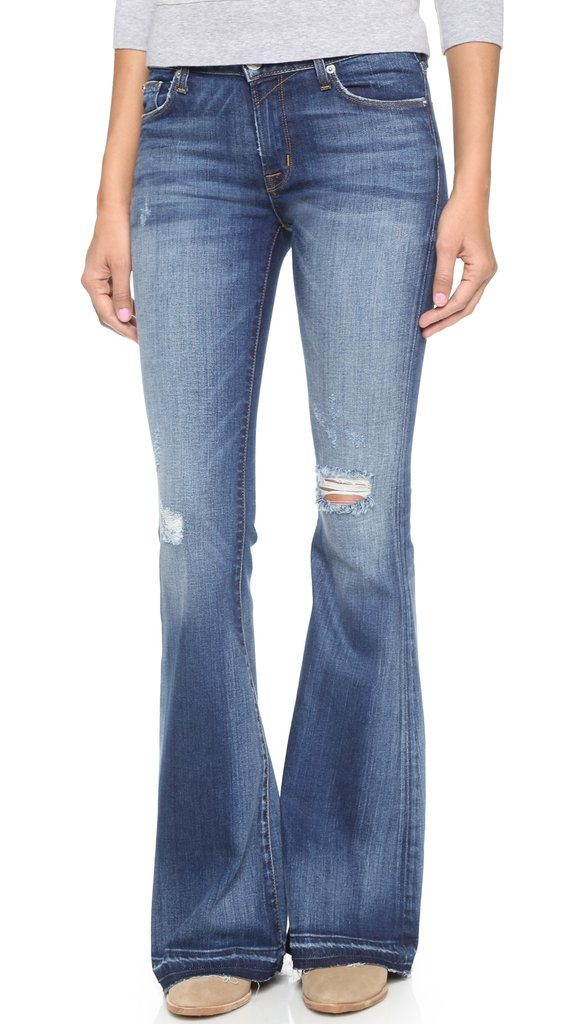 jeans for rectangle figures, jeans with flared leg below the knee
