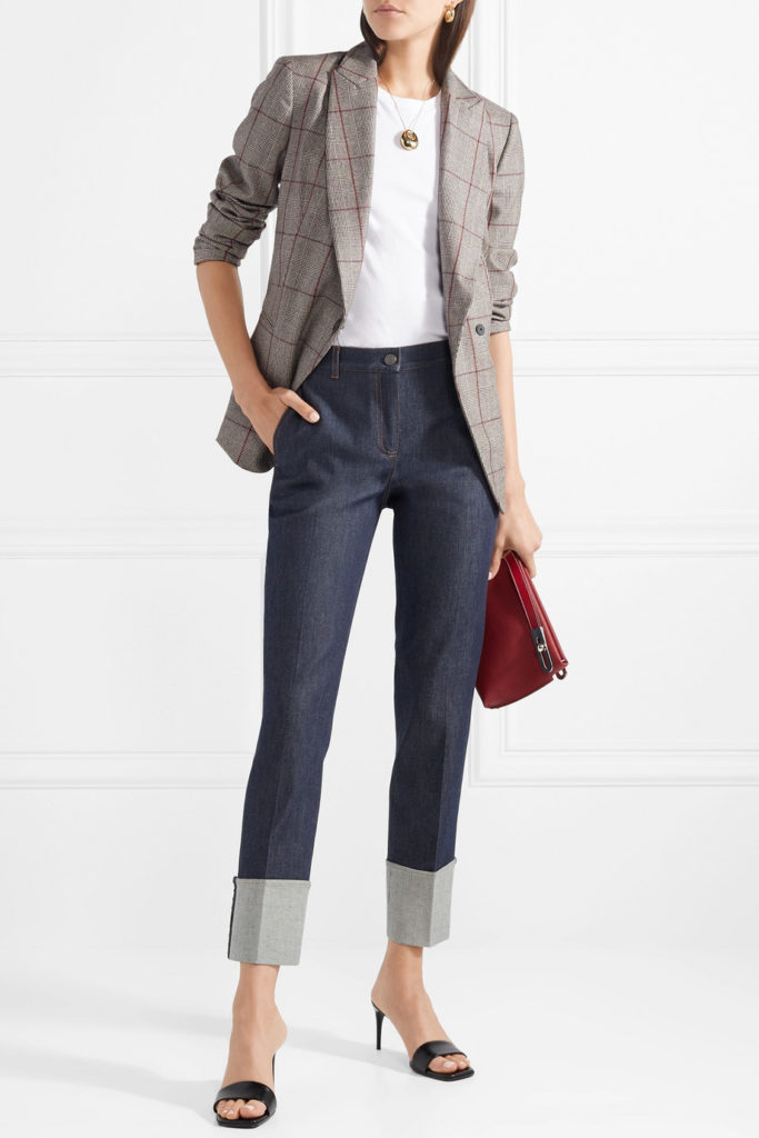 cuffed jeans, shoes to wear with cuffed jeans, high contrast and deep-cuff blue jeans