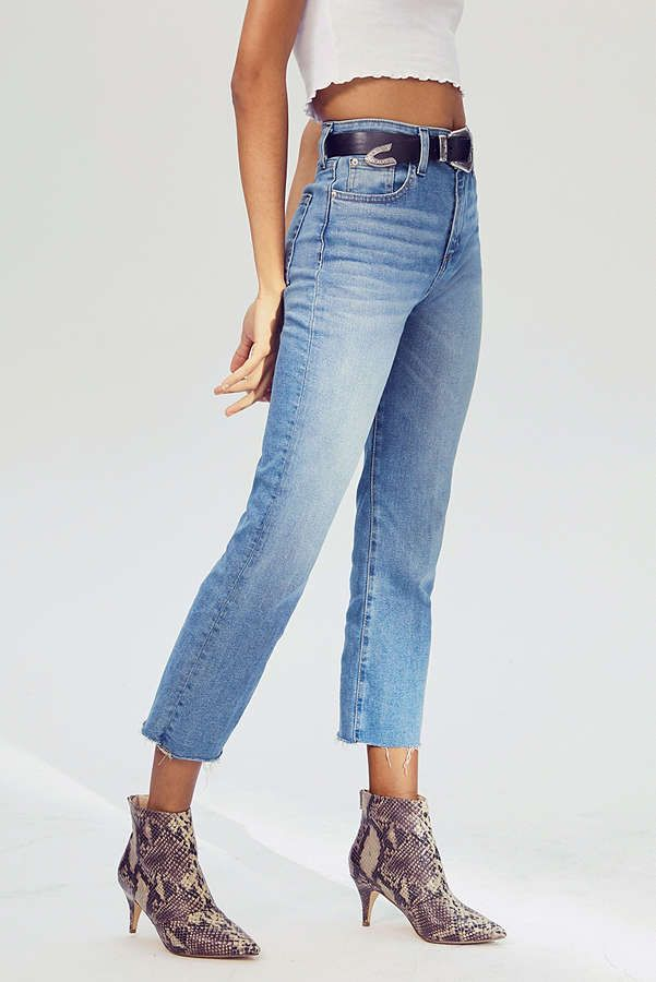 high rise kick flare cropped jeans