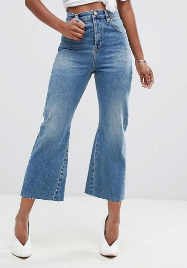high waisted flare leg cropped jeans