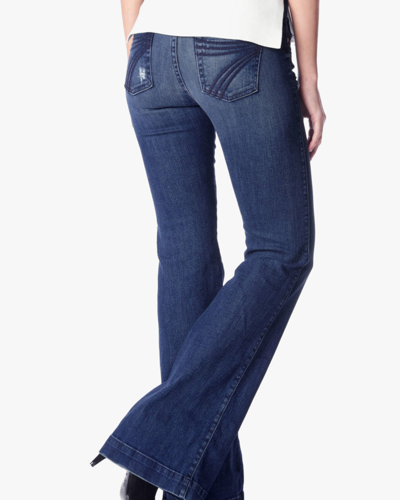 best jeans for a ruler or rectangle body shape, jeans with fading and stitching on the seat