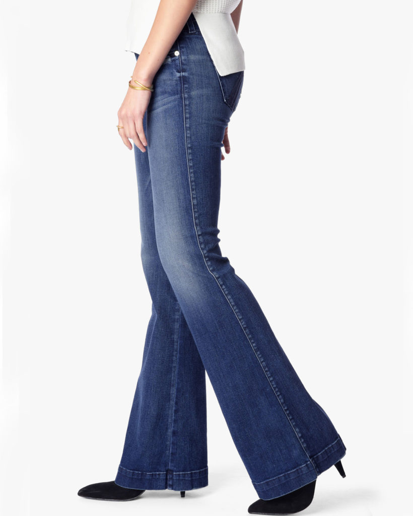 jeans for a skinny rectangle shape, jeans with fading and whiskers on thighs - side view