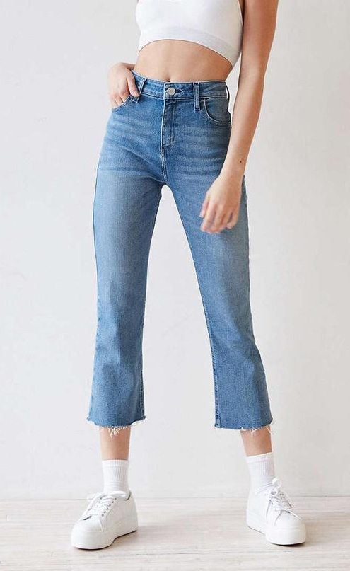 womens jean styles, kick flare, cropped jeans