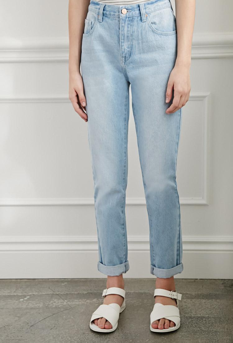 light denim mom fit jeans