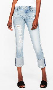 light wash jeans, low contrast cuff
