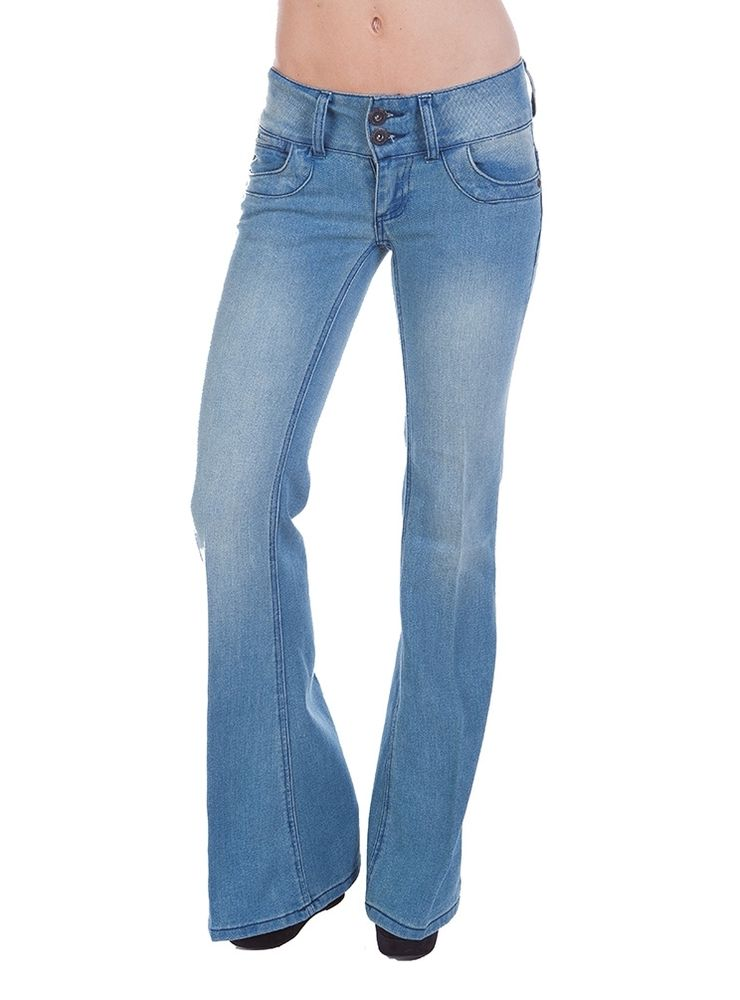 low rise flare jeans with a wide waistband for a rectangle body shape