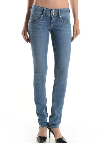 low rise slim leg jeans with a wide waistband