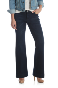 dark wash jeans with flared legs