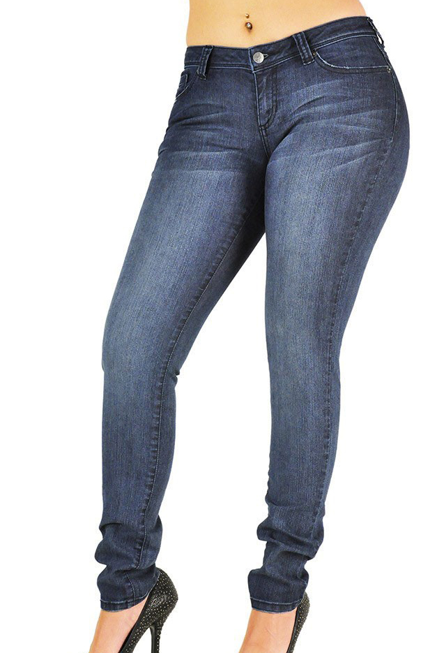 mid-rise skinny jeans made with stretch denim