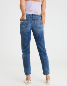 mom jeans with distressing and fading - back view