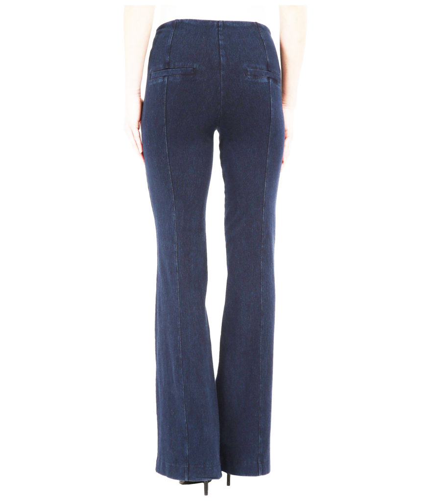 womens jean styles, trouser jeans with slit back pockets - back view, lightened for