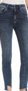 twisted seam on jeans closeup