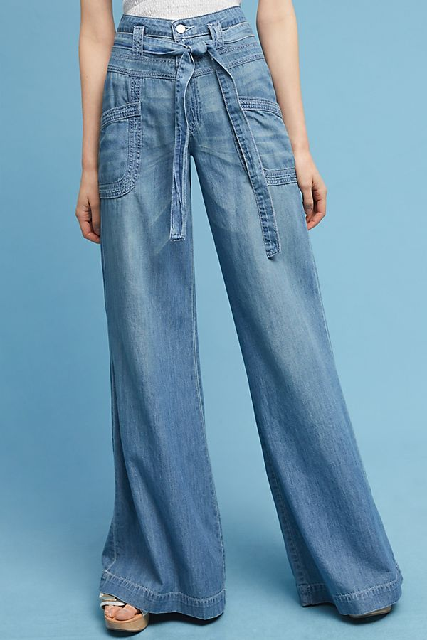ultra high rise tie-waist wide leg jeans, wide-legged jeans types of jeans for women