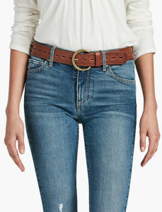 a wide belt worn with jeans shortens a long torso