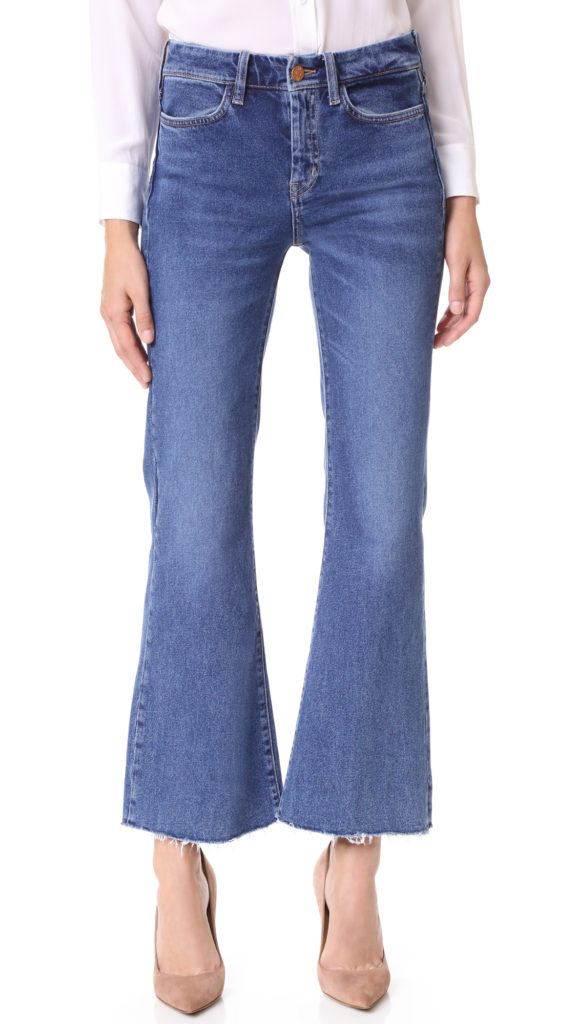 wide flare, cropped jeans with flesh-toned heels, how to wear flare cropped jeans