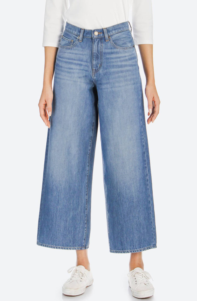 wide-leg, cropped ankle jeans