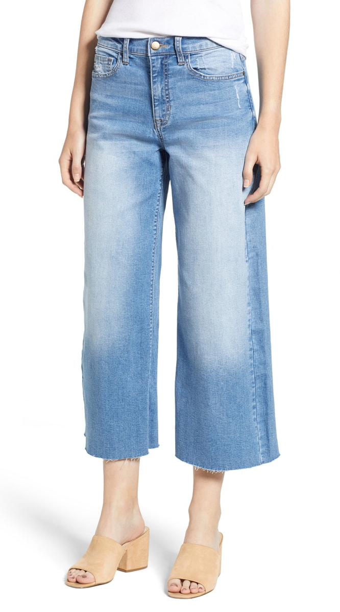 wide-leg, cropped jeans with nude heels