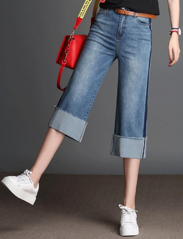 wide-leg,-cuffed capri jeans