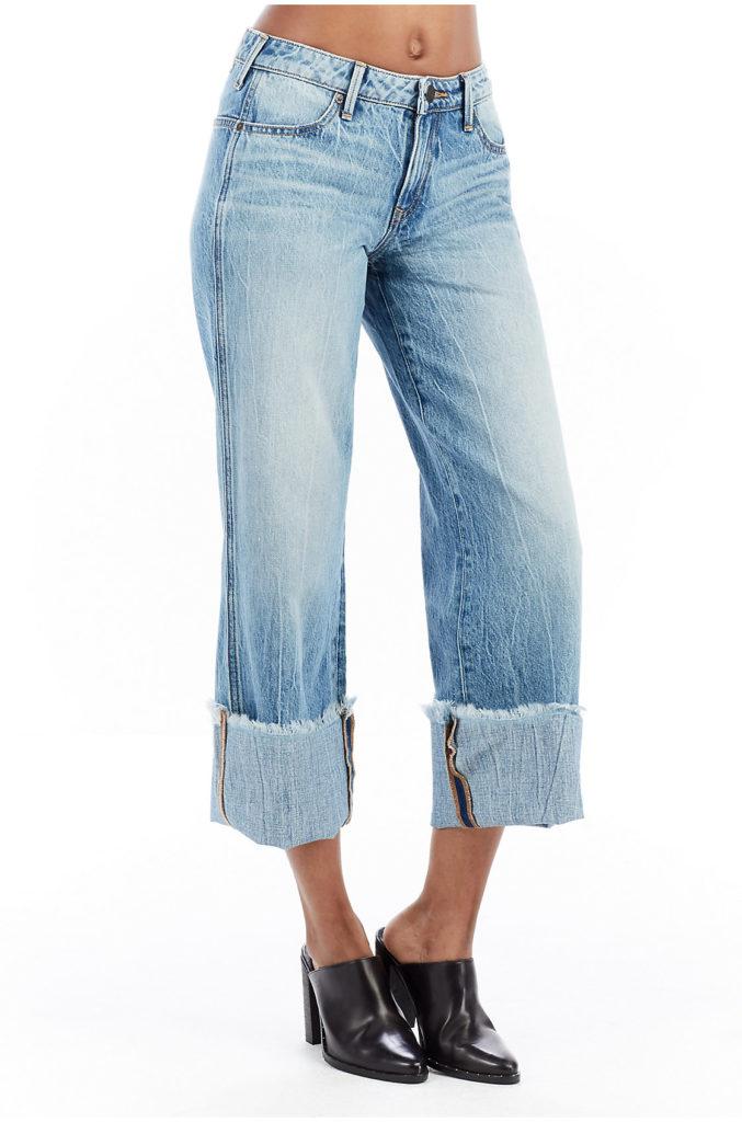 wide-leg, deep cuff jeans