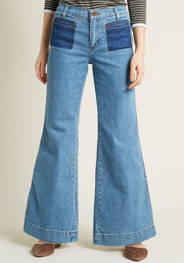 wide leg flared jeans, flare jeans, types of jeans for women