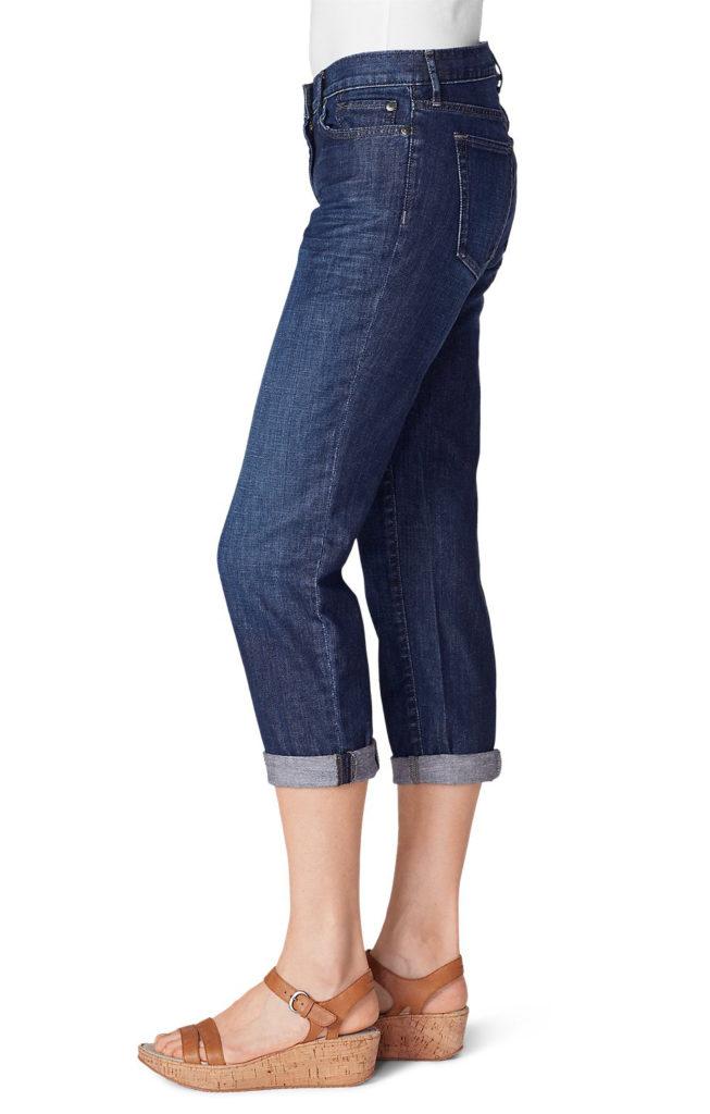 womens jean styles, Eddie Bauer Cropped Boyfriend Blue Jeans