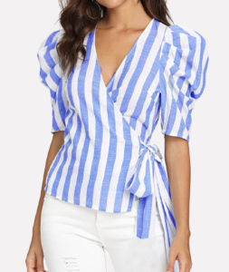 diamond shaped body , wrap top with puffy sleeves