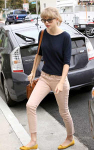 Taylor Swift khaki skinny ankle jeans