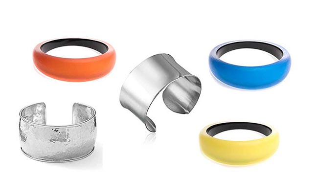 Colorful bangles and cuff bracelets to wear with black jeans outfit