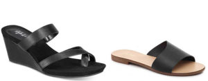 Black flat and heeled sandals to wear with black jeans
