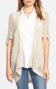 Beige, mesh crocheted topper black jeans outfit idea