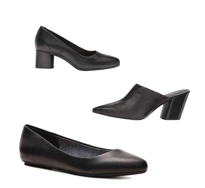 black pumps, flats and mules for a black jeans outfit