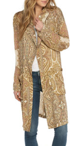 tan and beige print duster to wear with black jeans outfit