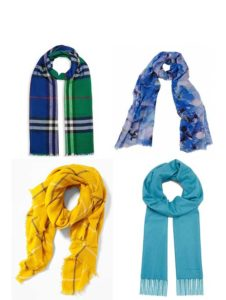 Colorful scarves worn with a black jeans outfit