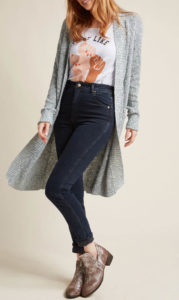 long gray cardigan to wear with black jeans