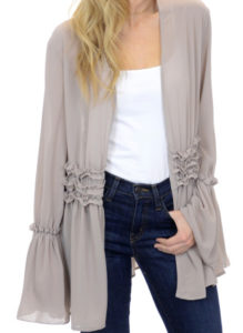 Gray, chiffon top, black jeans outfit idea
