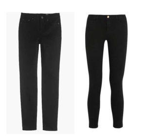 black straight leg jeans, black skinny jeans