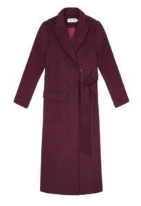rich color coat to wear with black jeans outfit