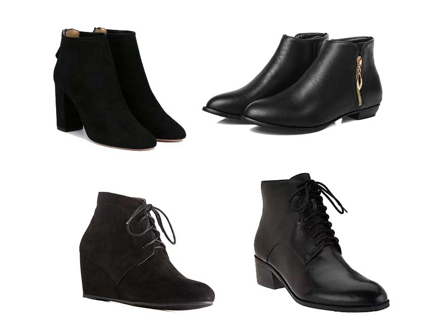 back ankle boots for a black jeans outfit