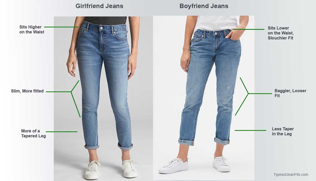 girlfriend jeans vs boyfriend jeans, girfriend fit compared to boyfriend fit